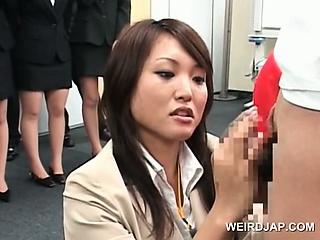 Teen japanese girl identically dick rubbing skills at sex colloquium