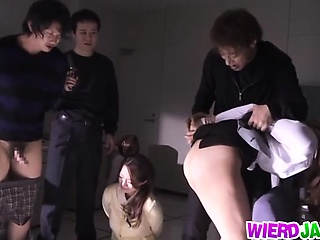 Horny Japanese in dirty hardcore group action