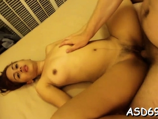 Clever oriental angel sucks a penis and grinds on it hard