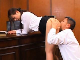 Oriental teacher gets her hirsute cunt fucked ans creamed
