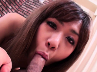 Pleasing her Japanese pussy with a hard boner