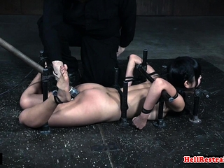 Cute asian sub gets their way pussy toyed by master