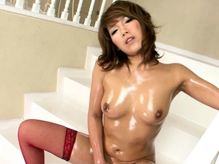 Chubby breasted beauty Akiho Nishimura riding a unstinted dildo